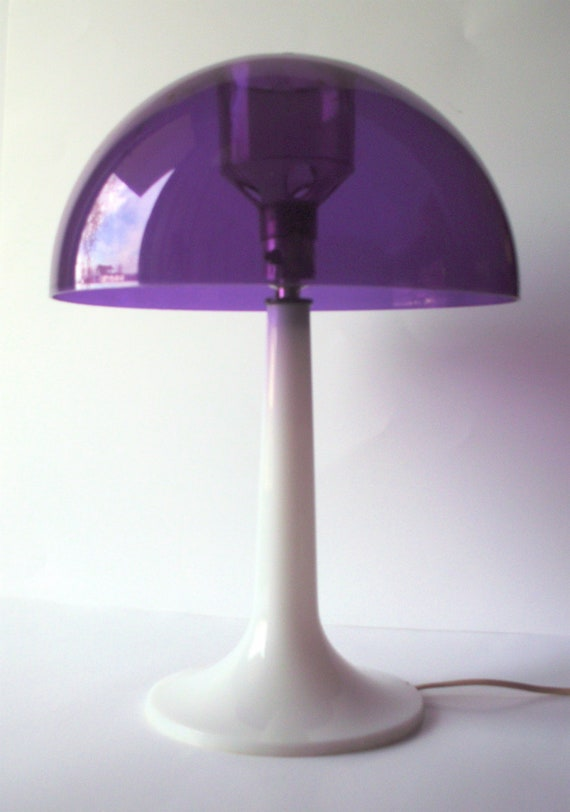 Vintage Purple Plastic Mushroom Lamp By Poorlittlerobin On