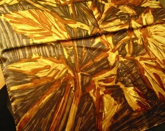 Vintage Mid Century Mod Japanese Silk Charmeuse Scarf -  Abstract Flowers in Browns/Golds - Mint.