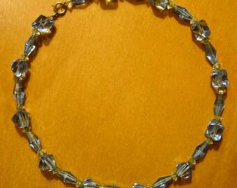 Vintage Japanese Light Blue Crystal Bead Choker Necklace - VG Vintage Cond.