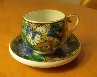 Antique Hand Painted Gilded Japanese Kutani Eggshell Porcelain Demitasse Cup and Saucer - Yellow w/ Bird and Flowers - Xlnt.