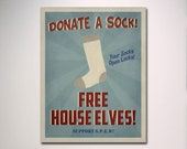 SPEW Free House Elves Propaganda Poster in Blue / Wall Art / Vintage Art / Harry Potter