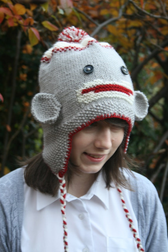 KNITTING PDF PATTERN Sock Monkey Hat with Earflaps For