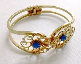 Rhinestone Clamper Bracelet Blue Vintage Bracelet Mad Men Retro Party Jewelry