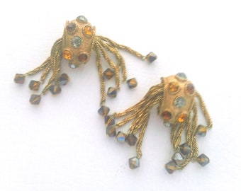 Vintage Earrings Rhinestone Dangle Fashion Holiday Party Gift Jewelry