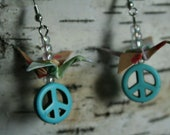 Bright Funky Peace Miniature Origami Crane Earrings