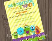 Monster Invitation, Printable, Printable Monster invitations, little Monster theme Birthday, Monster