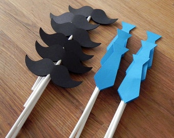 Cupcake Toppers: Little Man Ties and Mustaches Baby Shower or Birthday Party - die cut mustaches ties
