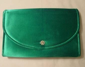 Aqua Green Silk Evening Bag Purse Envelope Clutch Shoulder Bag