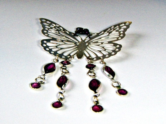 Christmasinjuly, Sale, Silver Butterfly Pendant with amethyst purple Crystal Dangles, Nature Pendant