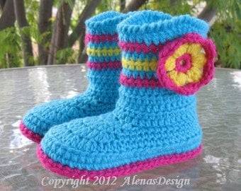 Crochet Pattern 063 - Children's Boots Alicia in seven sizes Crochet Patterns Boots Slippers Girl Boy Children Turquoise Red Boots Christmas