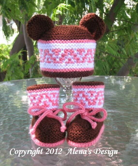 Knitting PATTERN Set - Beanie, Ear Flap Hat with Bear Ears ...