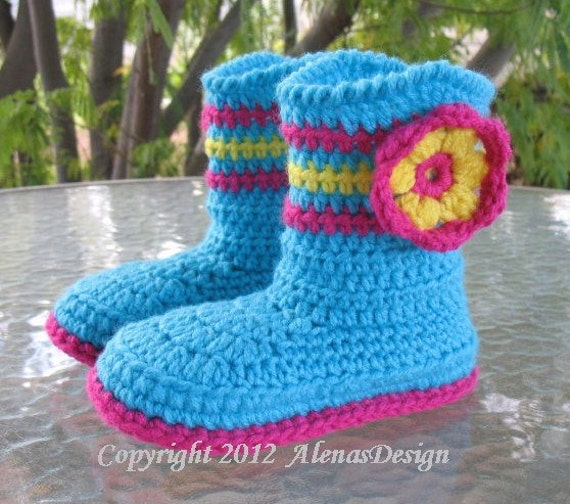 Crochet Pattern Beaded Baby Shoes : Crochet Pattern 063 Childrens Boots Alicia in seven