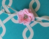Sweet Small Pink Flower with Three Rhinestones and Tulle on a Thin White Headband for Newborn and Baby Girls