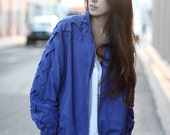 Cobalt Blue Zip Up Criss Cross Woven Bomber Jacket - Mandie