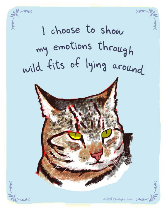 Striped Cat 5x7 Print of Original Painting with phrase