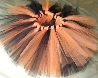 Halloween Tutu:  ORANGE & BLACK - Girls' Size 5/6 or 7/8 Goth Tutu
