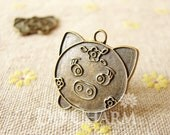 Antique Bronze Lovely Flower Pig Charms 24x23mm - 10Pcs - DC25191