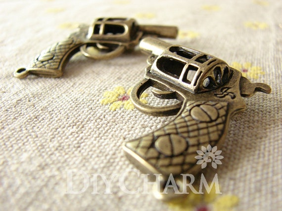 Antique Bronze Tone Pistol Weapon Charms 35x32mm 2pcs