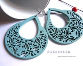 Painting Series  -  53 x 60mm Pretty Nile Blue Dissymmetry  Wooden Charm/Pendant MH153 09