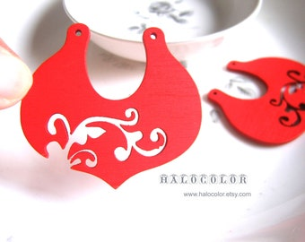 Painting Series- 55X50mm Pretty Red Chinese style Wooden Charm/Pendant MH140 03