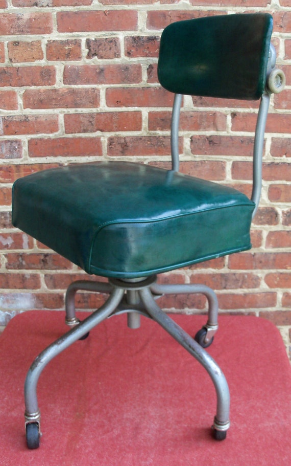 Vintage Industrial Office Chair Swivel STEELCASE Mid Century Machine Age