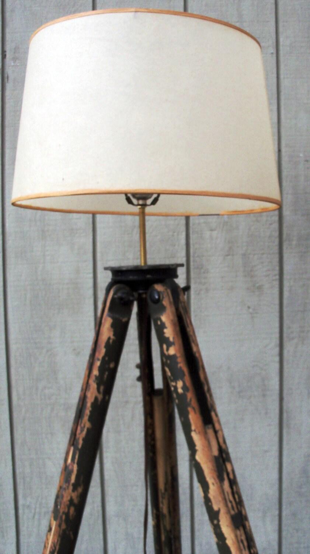 Vintage Wooden Tripod Floor Lamp Brunson Military Green