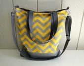 New - Tote Bag - Yellow and Grey Chevron Slub - Large - Waterproof Base - Adding Removable Cross Body Strap - Adjustable