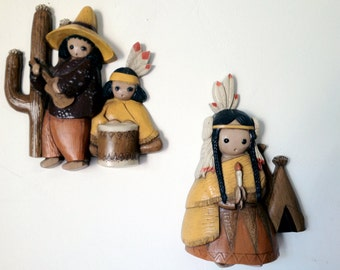 Set of 2 Vintage 60s 1960s Indian Native American Kitch Wall Decor Big Eye Eyed Kids Children Ted DeGrazia Style Kitchen Home Decor 70 1970s