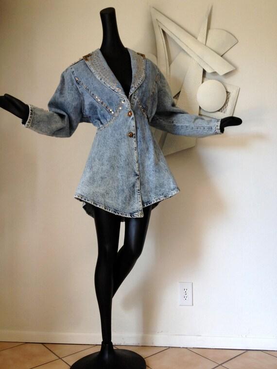 80s party Vintage 1980s Jacket Dress Acid Wash Denim Blue Jean Studded Jacket Shoulder Pad Peplum Dress Large Gold Studs Stars Bedazzled