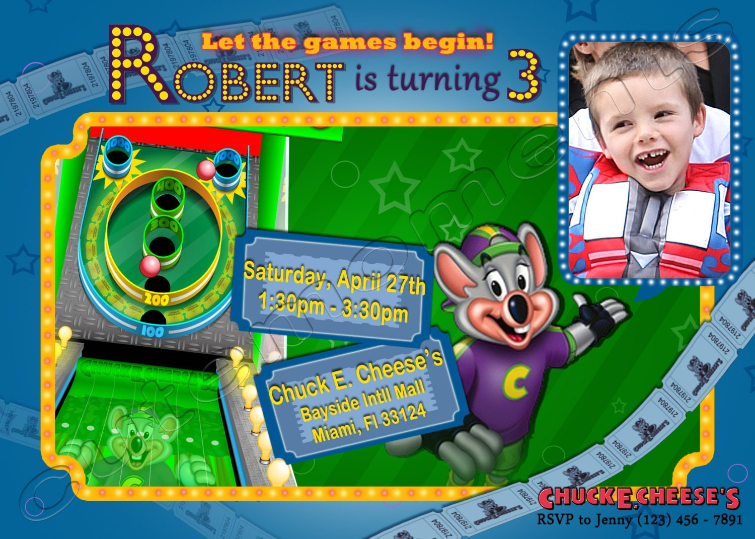 Chuck E Cheeses Personalized Birthday Party Invitation – Chuck E Cheese Birthday Invitation Wording