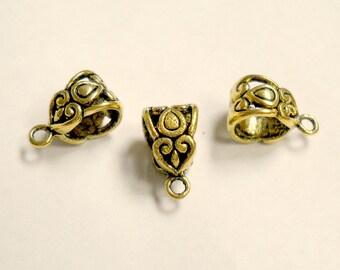 gold floral bails, antique bali style, european bead charm, 10pcs