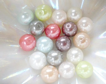 color glass pearls,  8mm, closeout, 40pcs