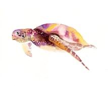 SEA TURTLE 7x5inch-Art Print-animal Watercolor Print-Giclee Print