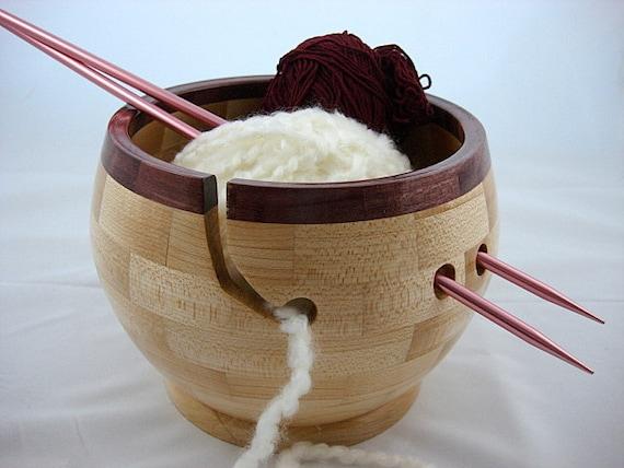 Wooden Knitting Bowl, Purpleheart Wood Rim, Lathe Turned