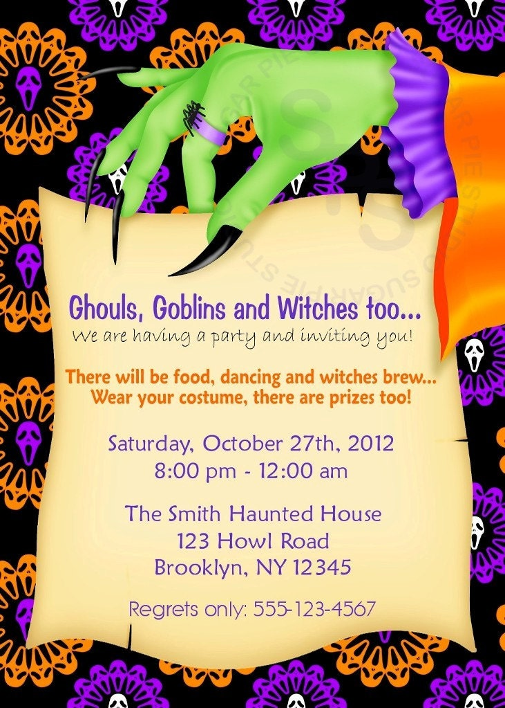 Ambitious image with regard to printable halloween party invitations