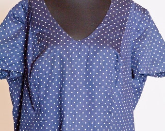 Vintage BBW Pinup Polka Dot Dress - blue with white dots, made of linen. Excellent condition.