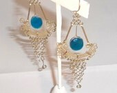 Vintage Blue Agate and Silver Dangly Earrings