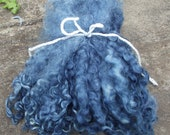 Lincoln Longwool Locks-dyed with natural Indigo 1 oz