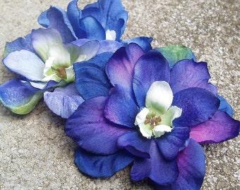 Blue Delphinium hair flower clip, realistic, single or double bloom
