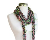 Women's Scarf in Pink, Green and Black - Spring Fall Winter Knit  Fashion - Women Teens Accessories - Multi-color Scarflette