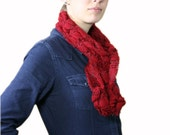 Red Knit Scarf  - Women Teens Accessories - Fall Winter Fashion - Christmas Gift for Her