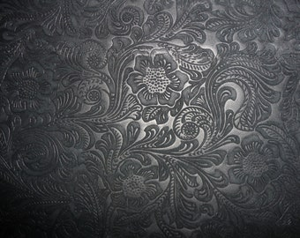 "Suede Leather 15""x15"" Etched Black DAISY Floral Cowhide No shine, Matte  3.5 oz / 1.4 mm PeggySueAlso"
