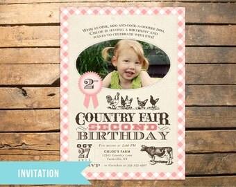 Vintage Country Fair Farm Photo Invitation