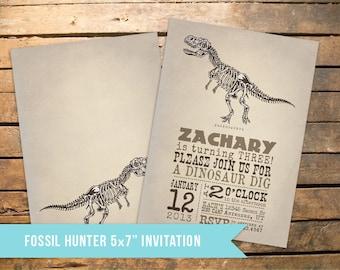 Vintage Dinosaur Fossil Hunter Invitation
