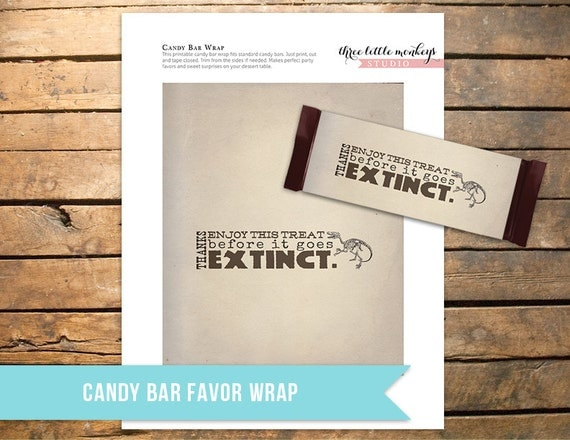 Fossil Hunter Candy Bar Favor Wrapper