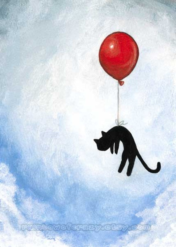 Red House Drawing: Black Cat Print Red Balloon Blue Sky Wall Art Nursery Room