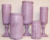 Lavender Hand Painted Distressed Hobnail Shabby Chic Vases Made To Order
