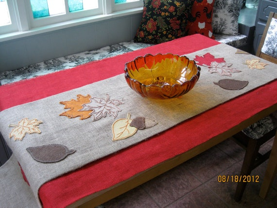 Thanksgiving or Fall Burlap Table Runner