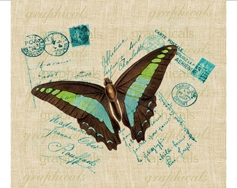 Teal black butterfly Paris ephemera instant digital download image for iron on fabric transfer burlap decoupage pillow tote bag card No. 657