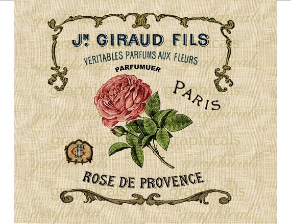 French parfum ad instant clip art Pink rose digital download for iron on fabric transfer burlap decoupage pillow card Home decor No. 535
